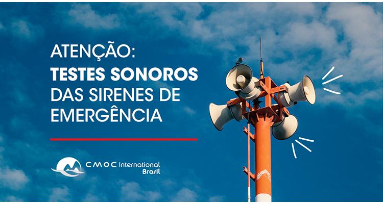 COMUNICADO: CMOC Brasil realiza testes sonoros de sirenes